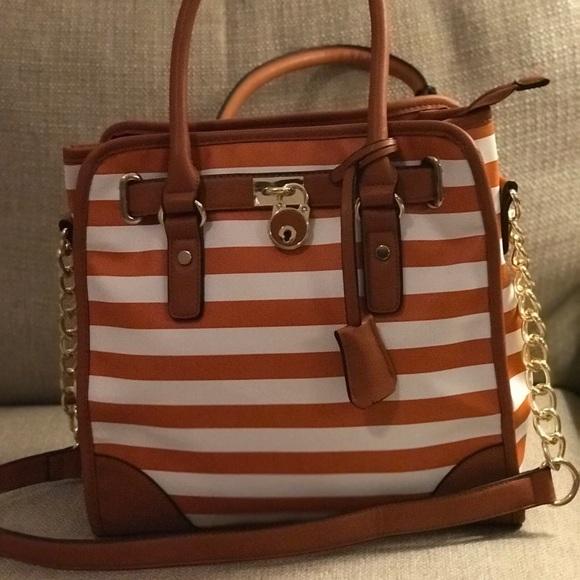 Bags   La Terre Fashion Orange Striped Purse Nwt   Poshmark c5e4796615
